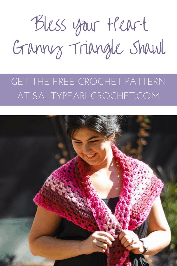 Free Pattern: Bless Your Heart Granny Triangle Shawl
