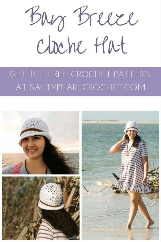 Get the free Bay Breeze Cloche hat pattern on SaltyPearlCrochet.com!
