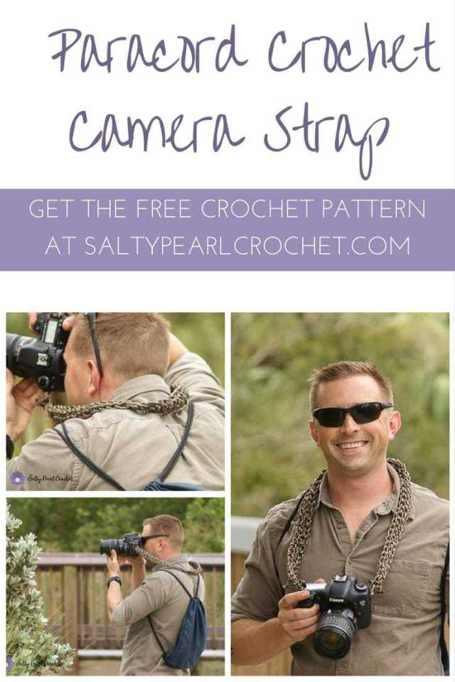 Find the free Paracord Crohet Camera Strap pattern at SaltyPearlCrochet.com!