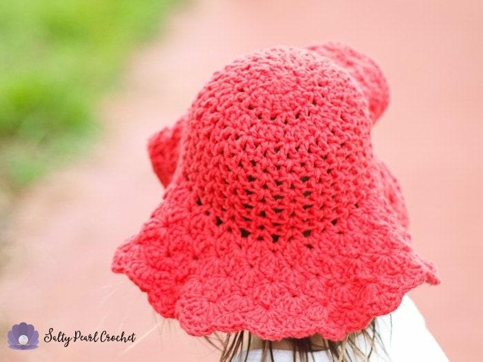 Scalloped Toddler Beach Hat Salty Pearl Crochet