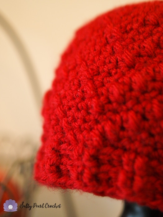 This hat is made from the best crochet yarn for charity donation- Lion Brand Pound of Love.