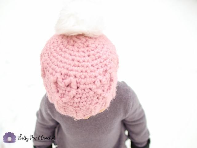 Chunky Cabled Heart Hat - FREE Crochet Cable Beanie for Toddlers uses Lion Brand Wool-Ease Thick & Quick yarn, which is one of the best yarns for crochet - SaltyPearlCrochet.com