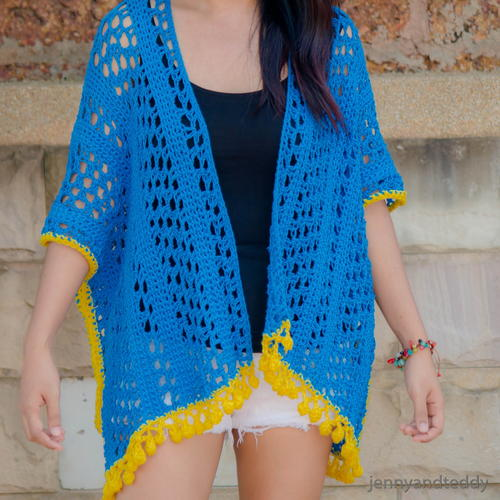 Lemon Drop Kimono Cardigan by Jenny and Teddy - part of a boho crochet vest pattern collection curated by SaltyPearlCrochet.com.