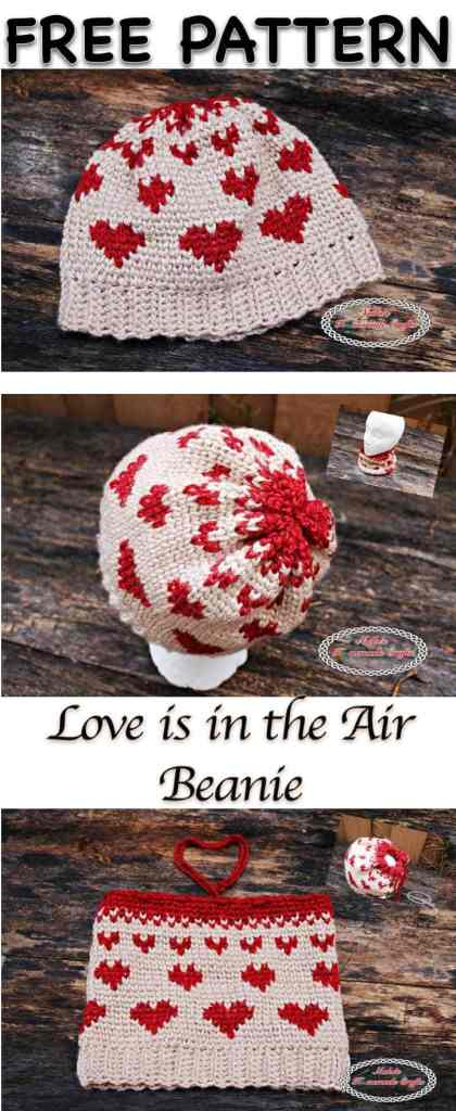 Love is in the Air Beanie - Free Valentine Crochet Pattern Collection compiled by Salty Pearl Crochet