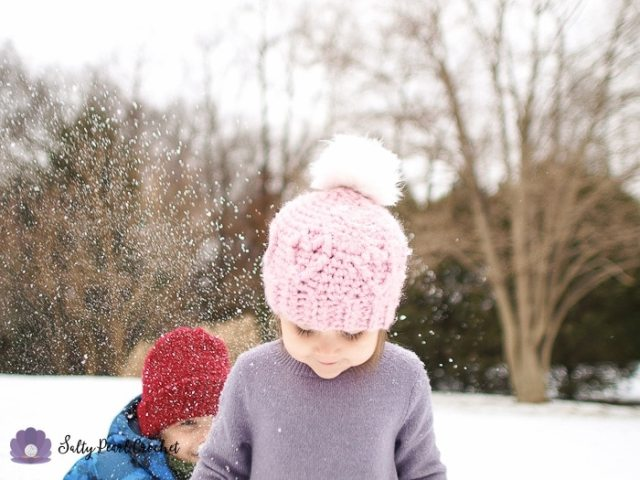 Chunky Cabled Heart Hat - a FREE cabled crochet beanie pattern for toddlers at SaltyPearlCrochet.