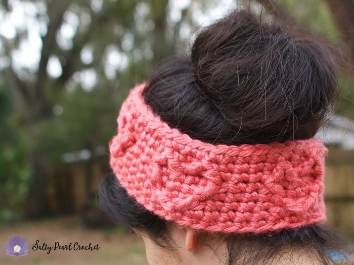 Free Crochet Headband Pattern Chunky Cabled Heart Ear Warmer