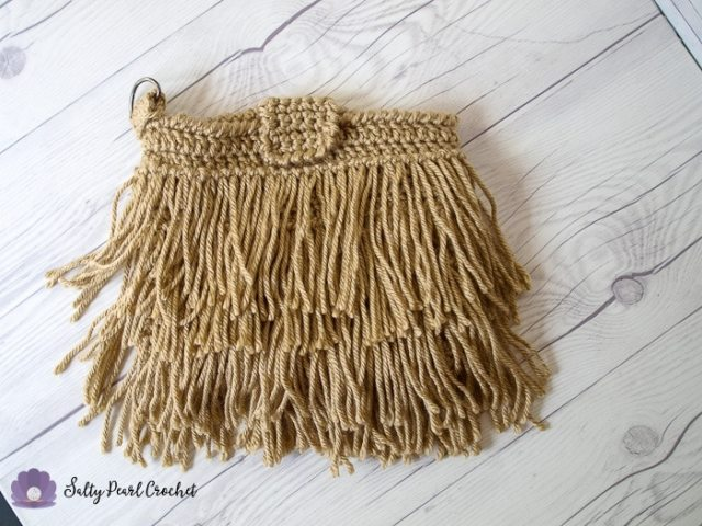 Crochet Fringe Clutch Pattern in tan Red Heart Soft Yarn