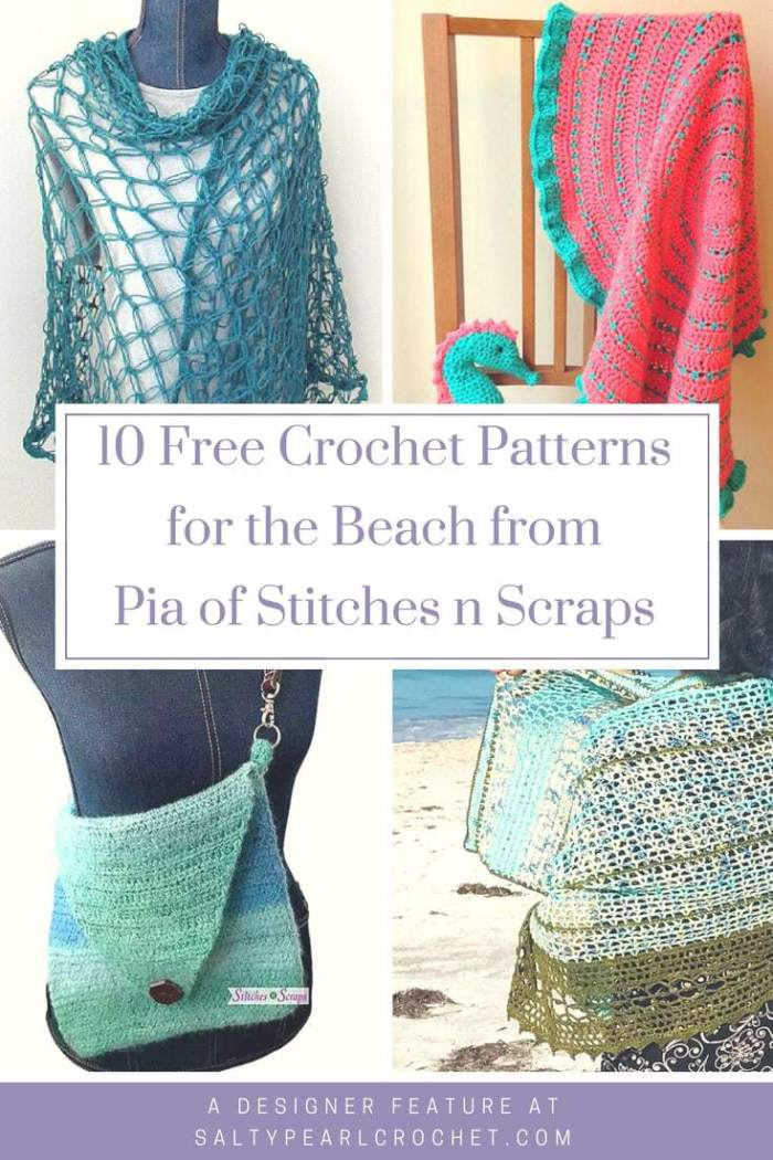 10 Free Crochet Patterns For The Beach With Pia Of Stitches N Scraps