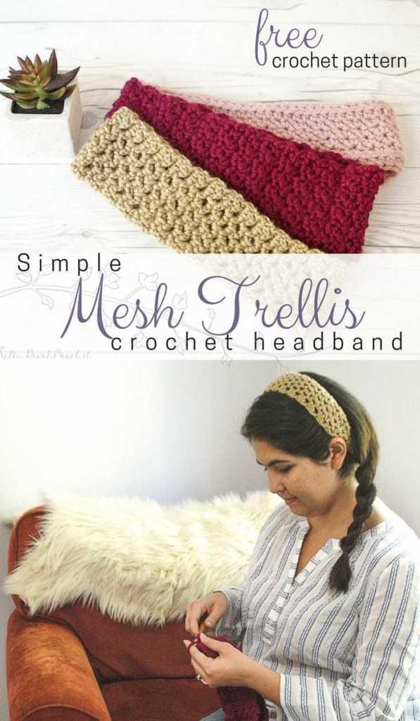 Simple Mesh Trellis Headband A Free Crochet Headband Pattern