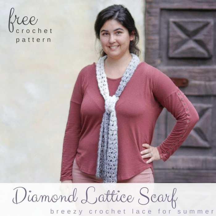 Free Crochet Summer Scarf Pattern Diamond Lattice Salty Pearl Crochet