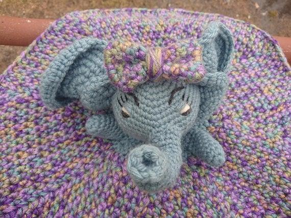Crochet baby toy elephant lovey