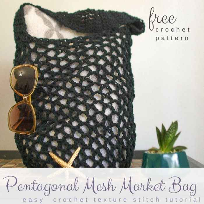 Free Pentagonal Mesh Market Bag Pattern Salty Pearl Crochet