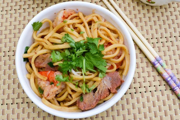 Shanghai Noodles with BBQ Pork and Prawns