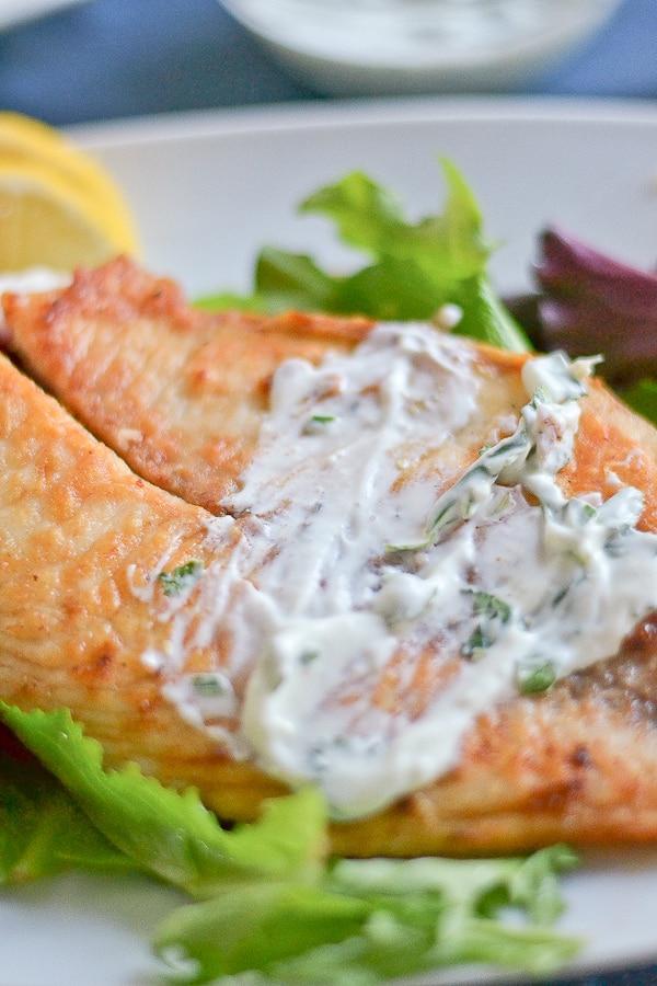 Pan fried tilapia with herbed yogurt sauce salu salo recipes for Yogurt sauce for fish