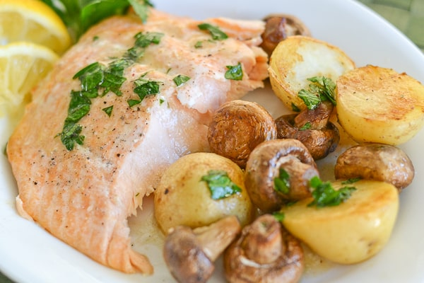 Roasted Salmon with Potatoes and Mushrooms