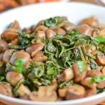 Sauteed Cremini Mushrooms with Red Russian Kale