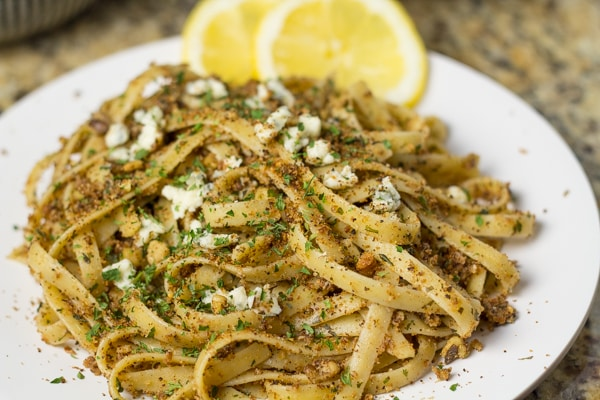 Blue Cheese Pasta with Lemon and Walnuts