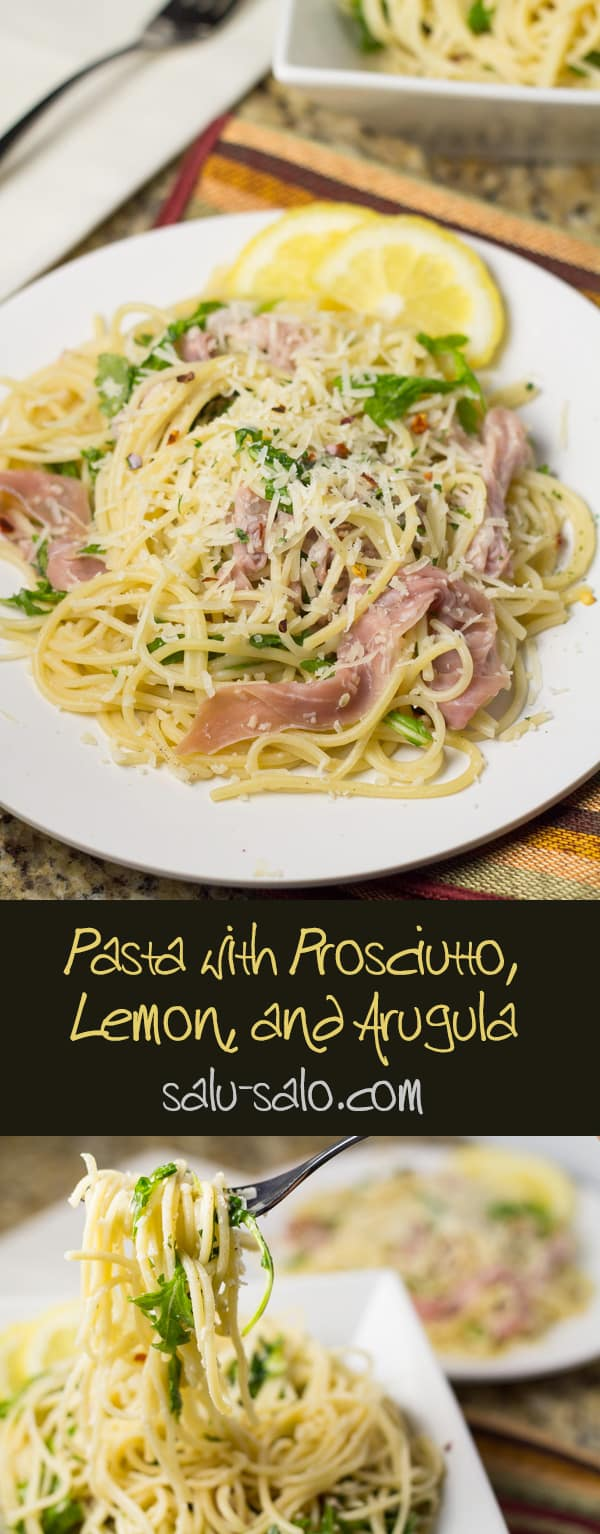 Pasta with Prosciutto, Lemon, and Arugula