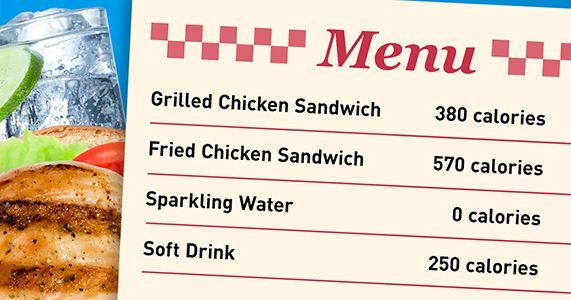 Cuántas calorías tiene? ¡Échele un ojo al menú!