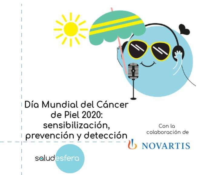 Logo saludesfera con gafas de sol y auriculares. Podcast en colaboración con Novartis por el día mundial del cáncer de piel