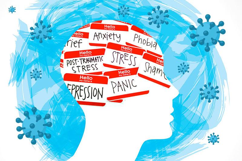 Cerebro con multitud de problemas: ansiedad, estrés, depresión