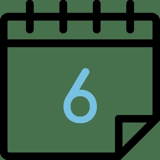 Calendario con el número 6