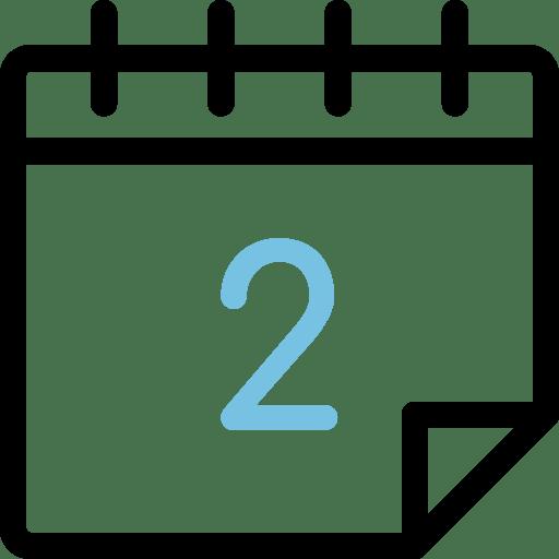 Calendario con el número 2