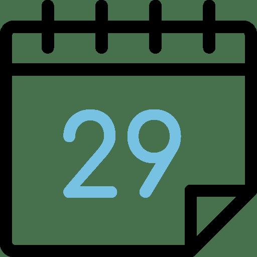 Calendario con el número 29