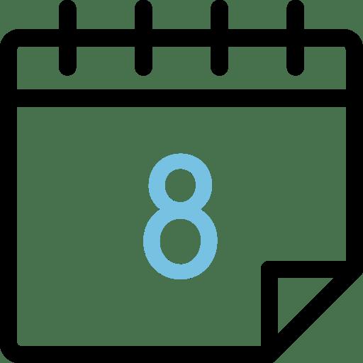 Calendario con el número 8