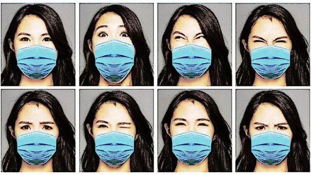 Ocho imágenes de una mujer con mascarilla expresando distintas emociones con la mirada