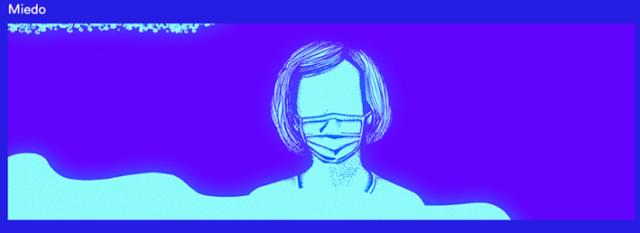Imagen de mujer sin rostro con mascarilla en tonos azules