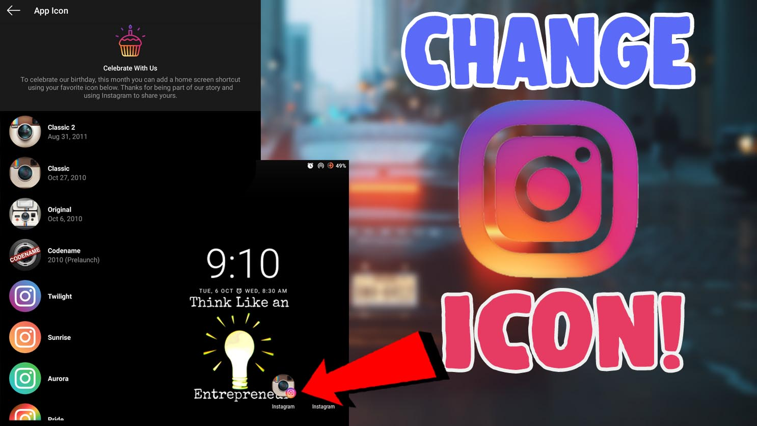 how to change instagram app icon on android and ios