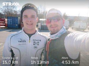 15 km plat 5'/km avec Gabriel