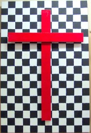 Red Cross~Acrylic on Canvas & Wood~24X2X36