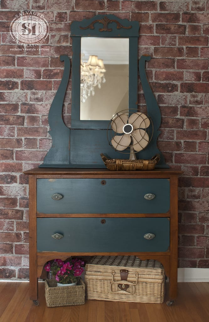 Painted Antique Vanity With Mirror