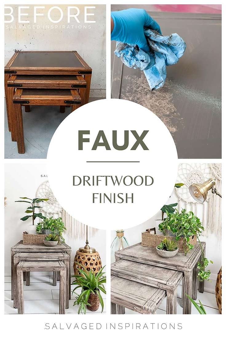 faux driftwood finish nesting tables
