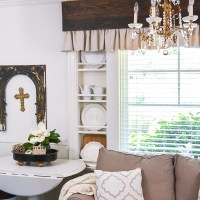 Wood and Dropcloth Curtains