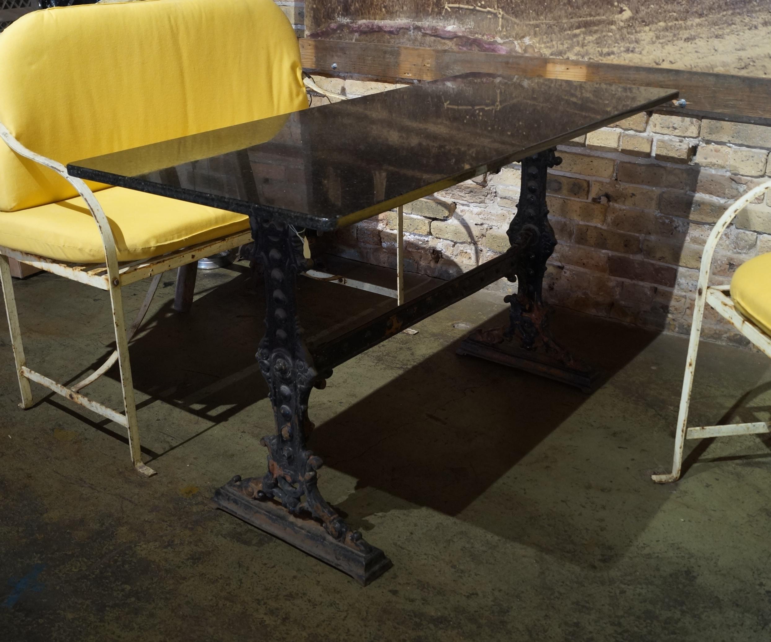 granite top patio table w iron base
