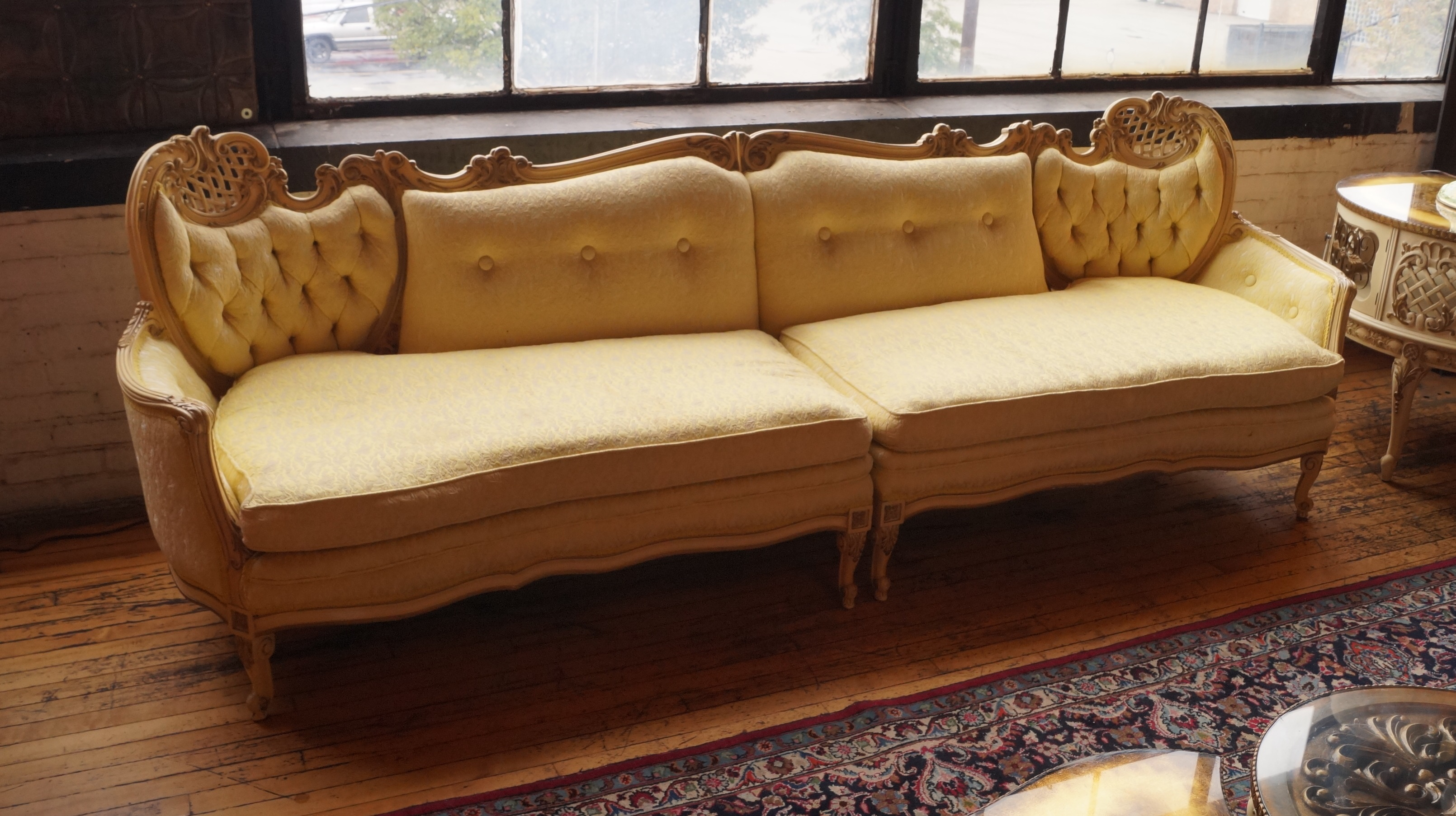 Vintage French Provincial Carved Frame Yellow 2pc Sofa Salvage One