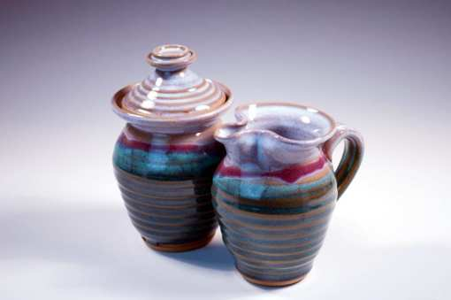 sugar and creamer pottery green