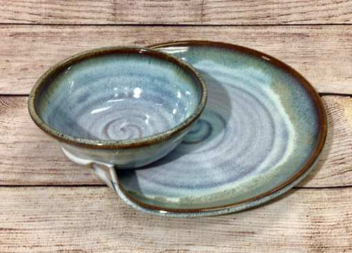 Soup and sandwich in Mist by Salvaterra Pottery
