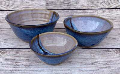3 dip bowls by salvaterra pottery blue