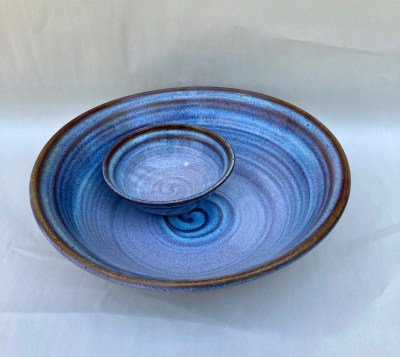 2 piece chip & dip handmade pottery blue