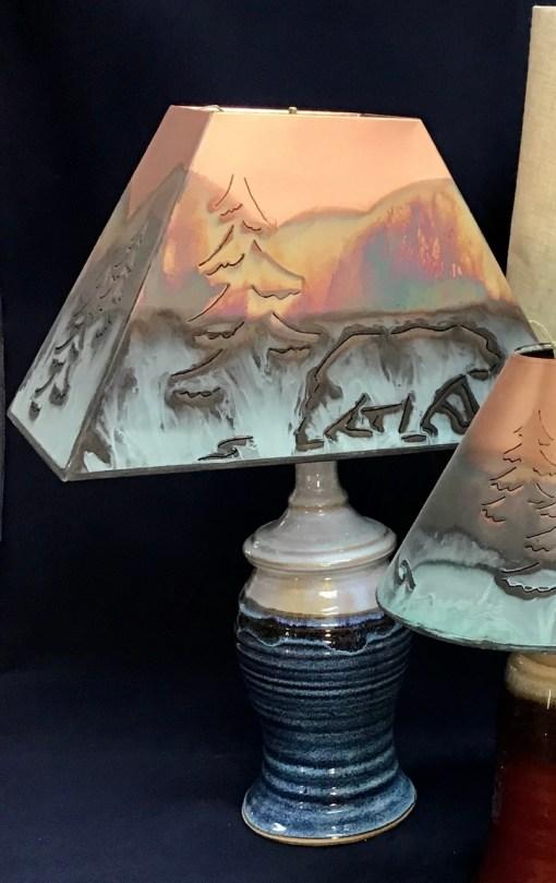 Lighting pottery blue