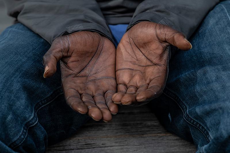 mans open hands