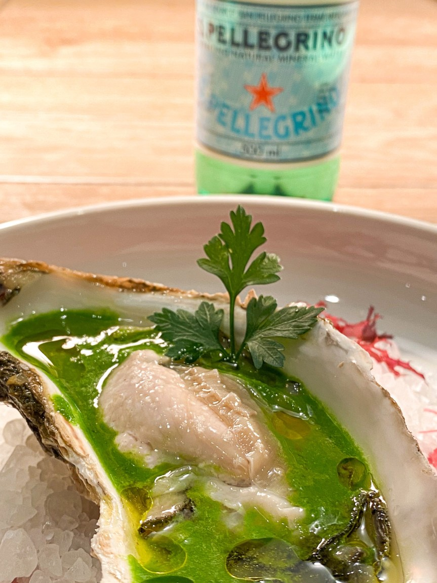 Hokkaido oysters with San Pellegrino water and parsley sauce