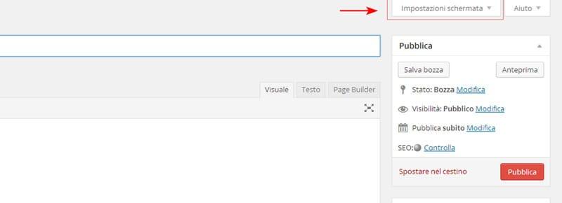 visualizzare pannello mostra a schermo wordpress