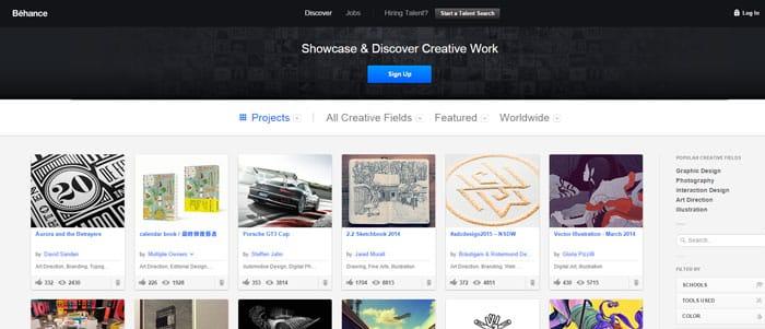 behance piattaforma web designer