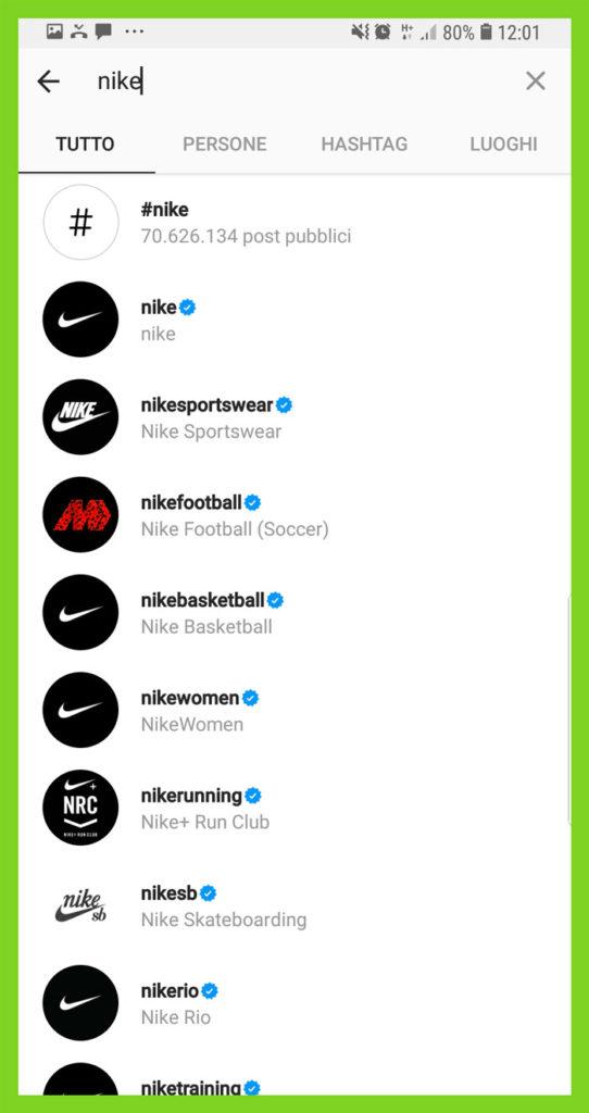 ricerche instagram