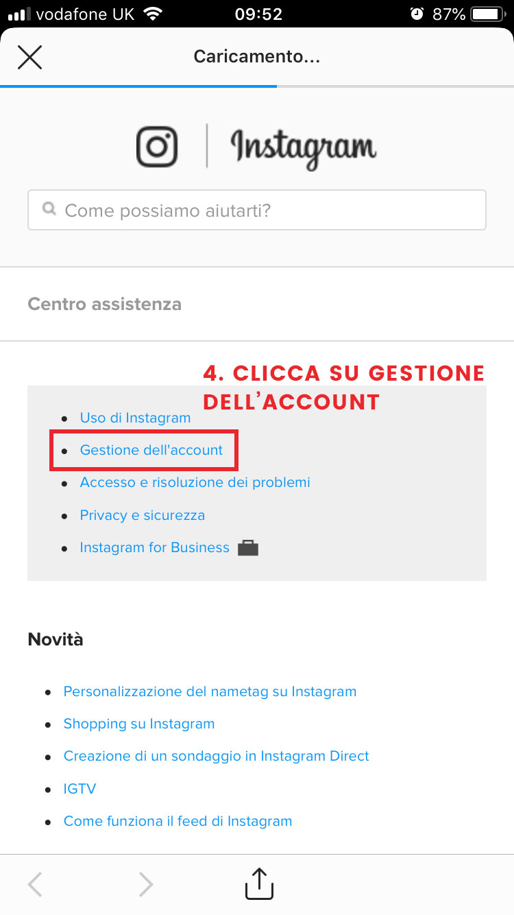 step 4 come eliminarsi da Instagram